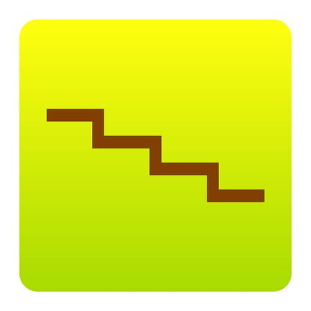 Stair down sign. Vector. Brown icon at green-yellow gradient square with rounded corners on white background. Isolated. Illustration