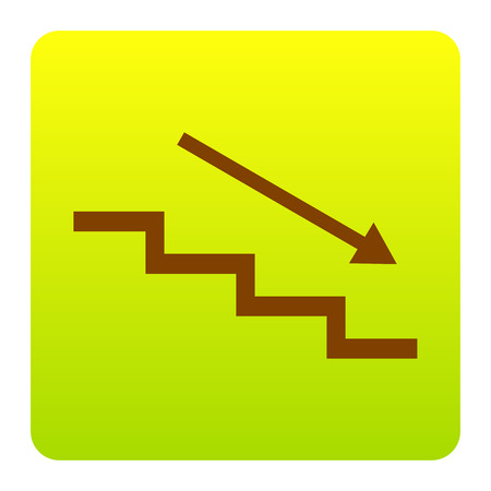 Stair down with arrow. Vector. Brown icon at green-yellow gradient square with rounded corners on white background. Isolated.