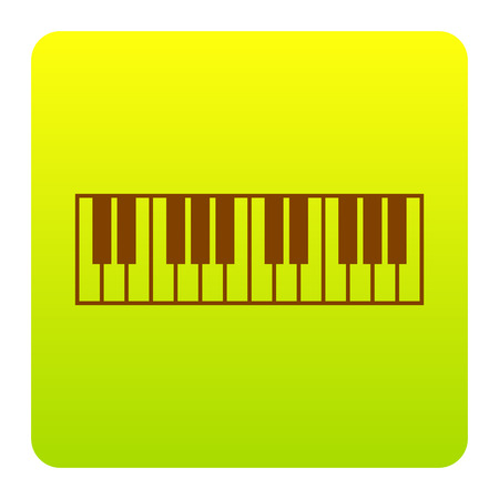 Piano Keyboard sign. Vector. Brown icon at green-yellow gradient square with rounded corners on white background. Isolated. Illustration