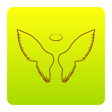 Wings sign illustration. Vector. Brown icon at green-yellow gradient square with rounded corners on white background. Isolated.