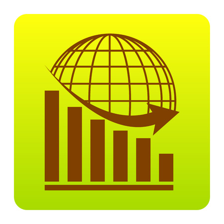 Declining graph with earth. Vector. Brown icon at green-yellow gradient square with rounded corners on white background. Isolated. Illustration