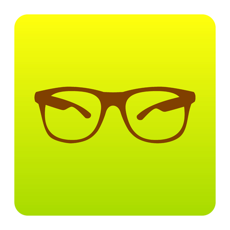 Sunglasses sign illustration. Vector. Brown icon at green-yellow gradient square with rounded corners on white background. Isolated. Illustration