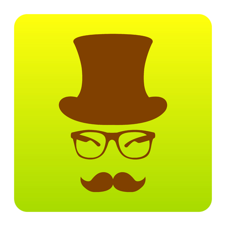 Hipster accessories design. Vector. Brown icon at green-yellow gradient square with rounded corners on white background. Isolated.