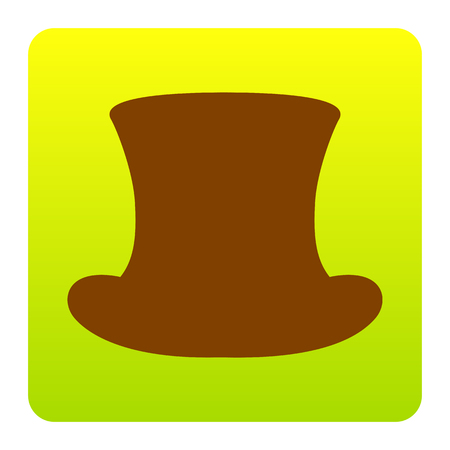 Top hat sign. Vector. Brown icon at green-yellow gradient square with rounded corners on white background. Isolated. Illustration
