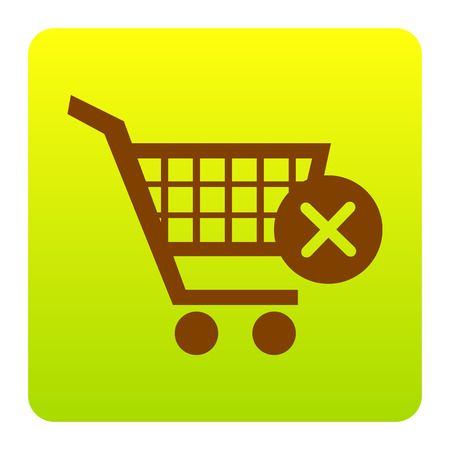Shopping Cart with delete sign. Vector. Brown icon at green-yellow gradient square with rounded corners on white background. Isolated.