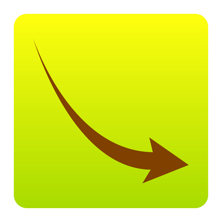 Declining arrow sign. Vector. Brown icon at green-yellow gradient square with rounded corners on white background. Isolated.