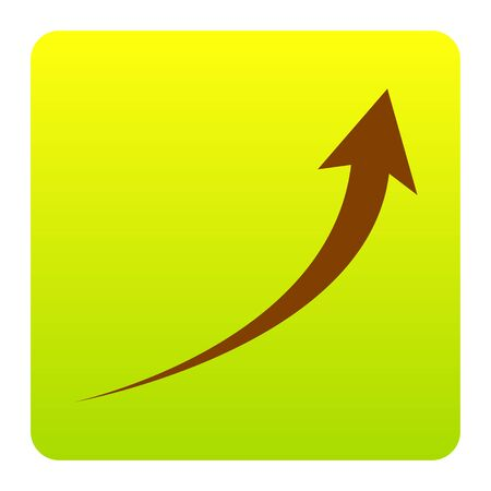 Growing arrow sign. Vector. Brown icon at green-yellow gradient square with rounded corners on white background. Isolated.