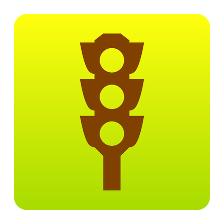 red traffic light: Traffic light sign. Vector. Brown icon at green-yellow gradient square with rounded corners on white background. Isolated.