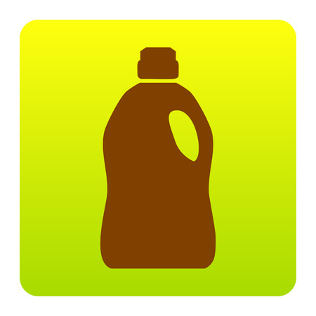Plastic bottle for cleaning. Vector. Brown icon at green-yellow gradient square with rounded corners on white background. Isolated. Illustration