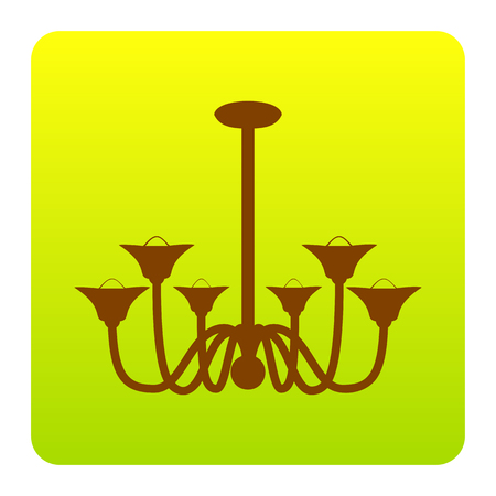 Chandelier simple sign. Vector. Brown icon at green-yellow gradient square with rounded corners on white background. Isolated.