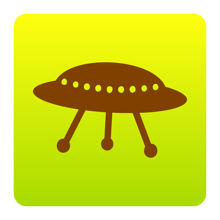 unidentified flying object: UFO simple sign. Vector. Brown icon at green-yellow gradient square with rounded corners on white background. Isolated.