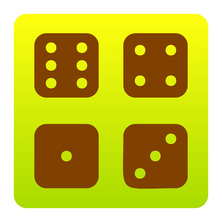 ivories: Devils bones, Ivories sign. Vector. Brown icon at green-yellow gradient square with rounded corners on white background. Isolated.