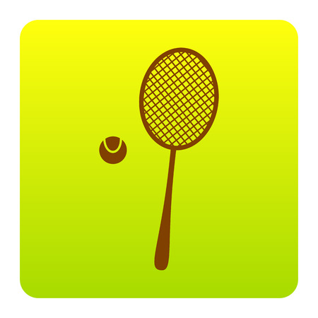 Tennis racquet sign. Vector. Brown icon at green-yellow gradient square with rounded corners on white background. Isolated. Illustration