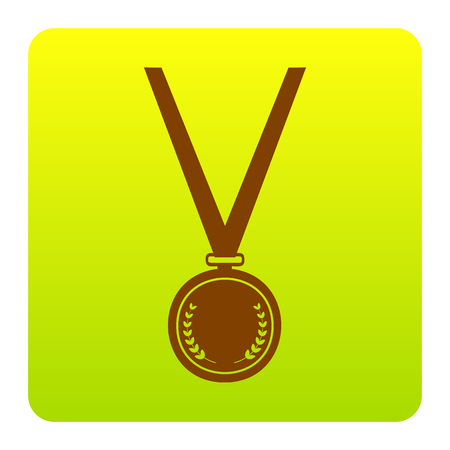 Medal simple sign. Vector. Brown icon at green-yellow gradient square with rounded corners on white background. Isolated. Illustration