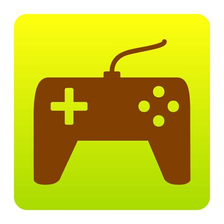 Joystick simple sign. Vector. Brown icon at green-yellow gradient square with rounded corners on white background. Isolated. Illustration