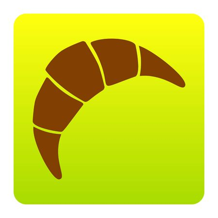 Croissant simple sign. Vector. Brown icon at green-yellow gradient square with rounded corners on white background. Isolated.