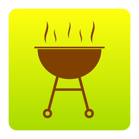 Barbecue simple sign. Vector. Brown icon at green-yellow gradient square with rounded corners on white background. Isolated.