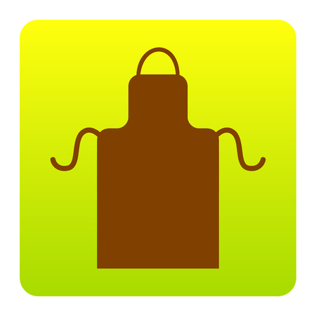 Apron simple sign. Vector. Brown icon at green-yellow gradient square with rounded corners on white background. Isolated. Illustration