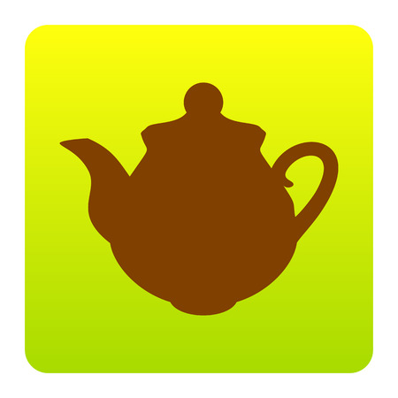 Tea maker Kitchen sign. Vector. Brown icon at green-yellow gradient square with rounded corners on white background. Isolated. Illustration