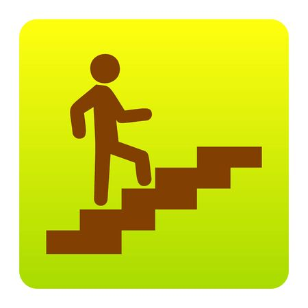 Man on Stairs going up. Vector. Brown icon at green-yellow gradient square with rounded corners on white background. Isolated. Illustration