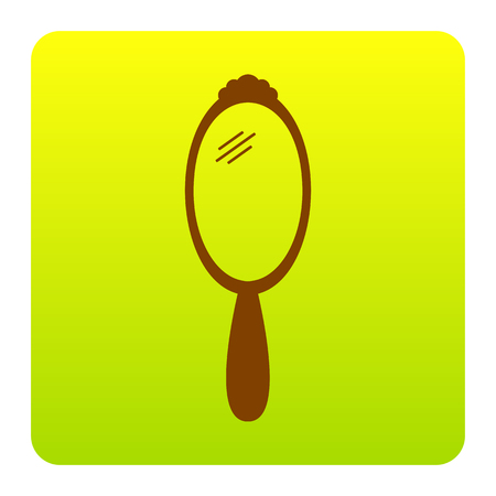 Hand Mirror sign. Vector. Brown icon at green-yellow gradient square with rounded corners on white background. Isolated.