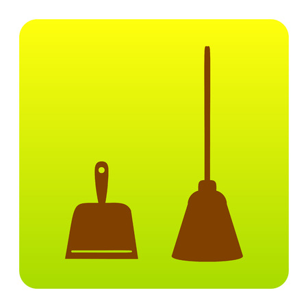 sweeper: Dustpan vector sign. Scoop for cleaning garbage housework dustpan equipment. Vector. Brown icon at green-yellow gradient square with rounded corners on white background. Isolated.