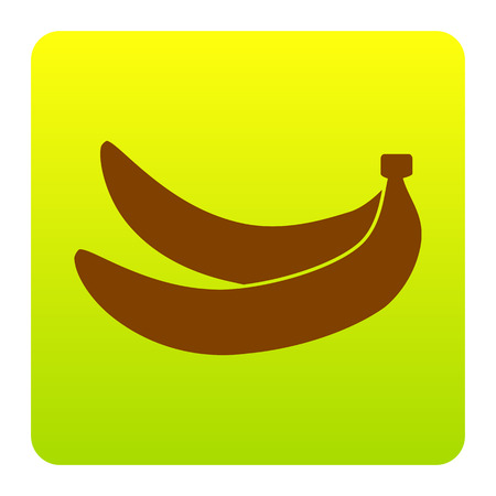 Banana simple sign. Vector. Brown icon at green-yellow gradient square with rounded corners on white background. Isolated. Illustration