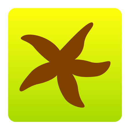 star fish: Sea star sign. Vector. Brown icon at green-yellow gradient square with rounded corners on white background. Isolated. Illustration