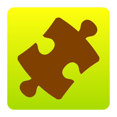 puzzle corners: Puzzle piece sign. Vector. Brown icon at green-yellow gradient square with rounded corners on white background. Isolated.