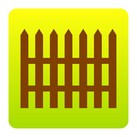 dissociation: Fence simple sign. Vector. Brown icon at green-yellow gradient square with rounded corners on white background. Isolated. Illustration