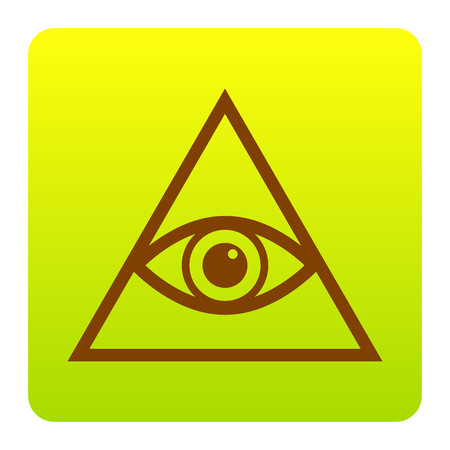 new world order: All seeing eye pyramid symbol. Freemason and spiritual. Vector. Brown icon at green-yellow gradient square with rounded corners on white background. Isolated. Illustration
