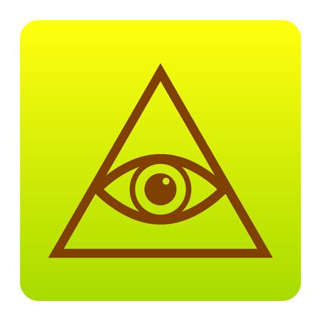 ojo de horus: Todo el símbolo de la pirámide del ojo que ve. Francmasón y espiritual. Vector. Icono de Brown en el cuadrado verde-amarillo del gradiente con las esquinas redondeadas en el fondo blanco. Aislado.
