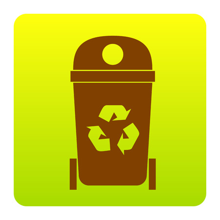 trashing: Trashcan sign illustration. Vector. Brown icon at green-yellow gradient square with rounded corners on white background. Isolated. Illustration