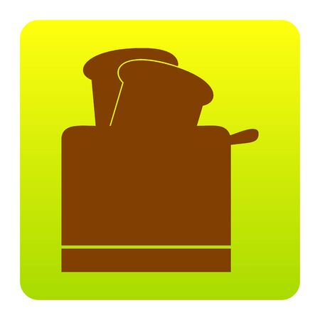 Toaster simple sign. Vector. Brown icon at green-yellow gradient square with rounded corners on white background. Isolated. Illustration