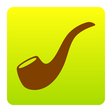 Smoke pipe sign. Vector. Brown icon at green-yellow gradient square with rounded corners on white background. Isolated.