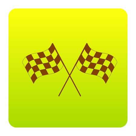 Crossed checkered flags logo waving in the wind conceptual of motor sport. Vector. Brown icon at green-yellow gradient square with rounded corners on white background. Isolated. Illustration