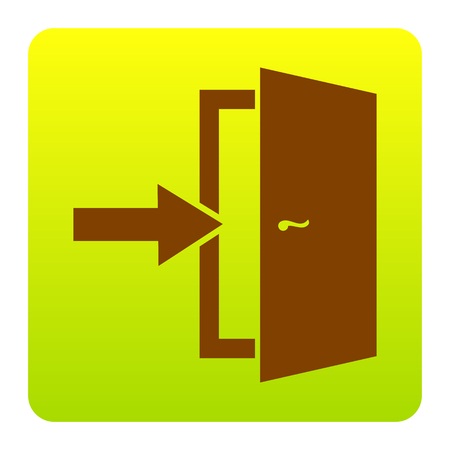Door Exit sign. Vector. Brown icon at green-yellow gradient square with rounded corners on white background. Isolated.
