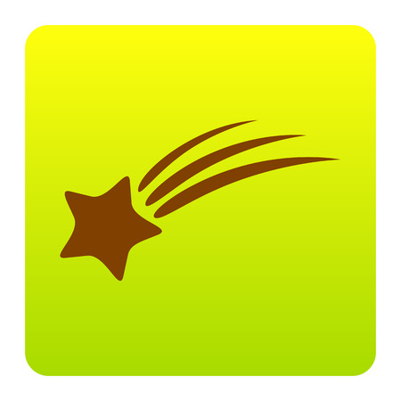 Shooting star sign. Vector. Brown icon at green-yellow gradient square with rounded corners on white background. Isolated. Illustration