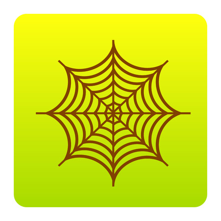 Spider on web illustration. Vector. Brown icon at green-yellow gradient square with rounded corners on white background. Isolated.