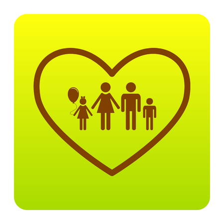 siloette: Family sign illustration in heart shape. Vector. Brown icon at green-yellow gradient square with rounded corners on white background. Isolated. Illustration