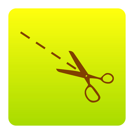 Scissors sign illustration. Vector. Brown icon at green-yellow gradient square with rounded corners on white background. Isolated.