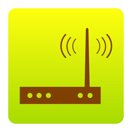 Wifi modem sign. Vector. Brown icon at green-yellow gradient square with rounded corners on white background. Isolated. Illustration