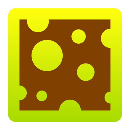 cheddar: Cheese slice sign. Vector. Brown icon at green-yellow gradient square with rounded corners on white background. Isolated.