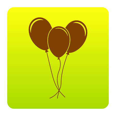Balloons set sign. Vector. Brown icon at green-yellow gradient square with rounded corners on white background. Isolated. Illustration