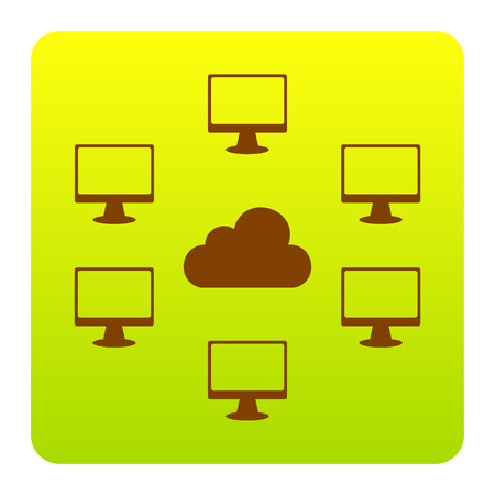 Computers network sign. Vector. Brown icon at green-yellow gradient square with rounded corners on white background. Isolated.