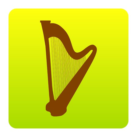 Musical instrument harp sign. Vector. Brown icon at green-yellow gradient square with rounded corners on white background. Isolated. Illustration