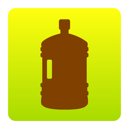 bottled: Plastic bottle silhouette sign. Vector. Brown icon at green-yellow gradient square with rounded corners on white background. Isolated.