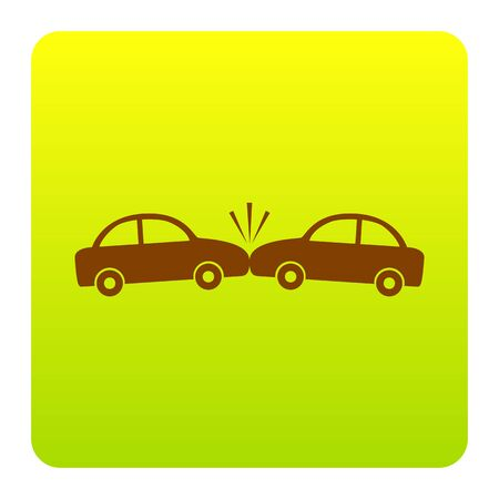 Crashed Cars sign. Vector. Brown icon at green-yellow gradient square with rounded corners on white background. Isolated.