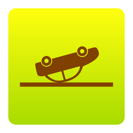 Crashed Car sign. Vector. Brown icon at green-yellow gradient square with rounded corners on white background. Isolated.