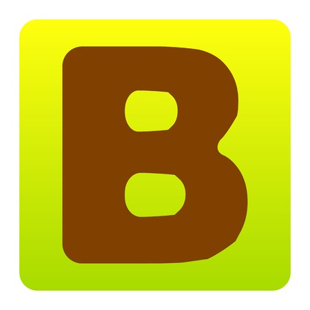 Letter B sign design template element. Vector. Brown icon at green-yellow gradient square with rounded corners on white background. Isolated. Illustration